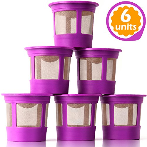 6 Pack Reusable Refillable Single K-Cups Coffee Filter Pod for Keurig K450,K460