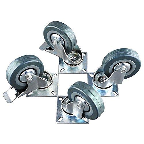 """4 Pack Large Steel Metal Swivel Caster Wheel Heavy Duty 3.5/"""""""