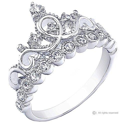 Top Tiara Ring Gift 7 – Princess Crown Ring White Gold Plated 925